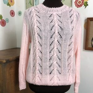 Vintage Pink Mohair Sweater Open Knit Boho Style